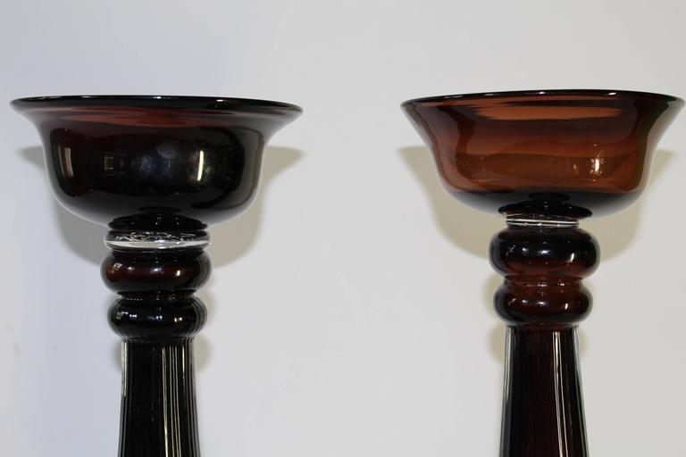 Pair of Mid-Century Modern Hand Blown Glass Baluster Candlesticks For Sale 2