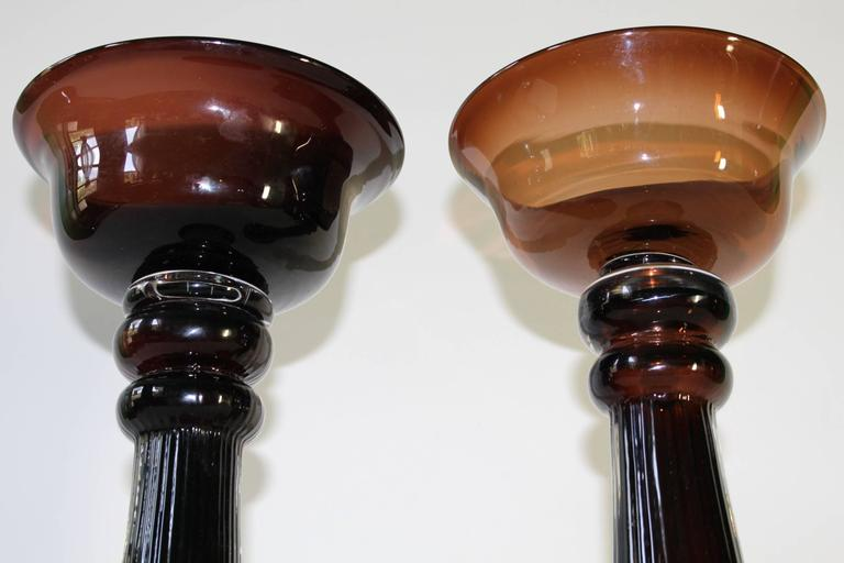 Pair of Mid-Century Modern Hand Blown Glass Baluster Candlesticks For Sale 3