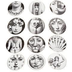12 Piero Fornasetti 'Temi e Variazioni' Plates for Rosenthal
