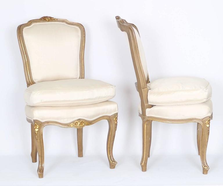 Louis Xv Style Petite Gilded Vanity Chairs In Off White Silk On