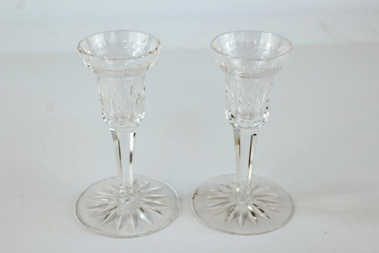 Pair of Glass Waterford Candlesticks 2