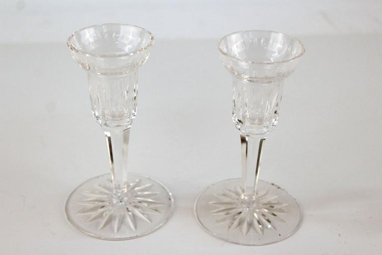 Pair of Glass Waterford Candlesticks 3