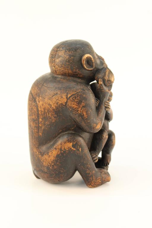 20th Century Wooden Sculpture of a Monkey and Her Infant For Sale