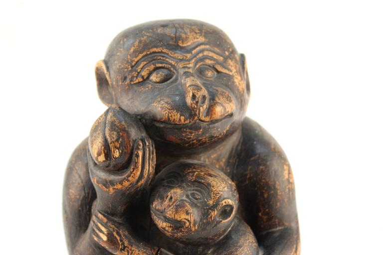 Wooden Sculpture of a Monkey and Her Infant For Sale 4