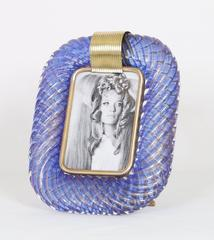 Venini Torcigione Blue Glass Frame with Gold Inclusions