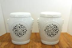 Pair of White Ceramic Garden Stools with Asian Inspired Motifs