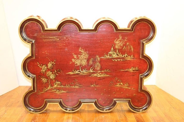 Chinoiserie Coffee Table in Red and Gold For Sale 1