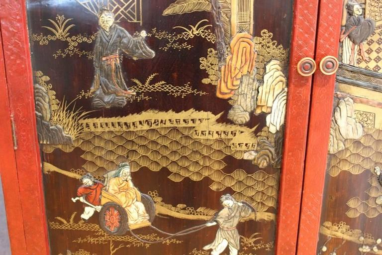 Wood Chinoiserie Cabinet in Red and Black For Sale