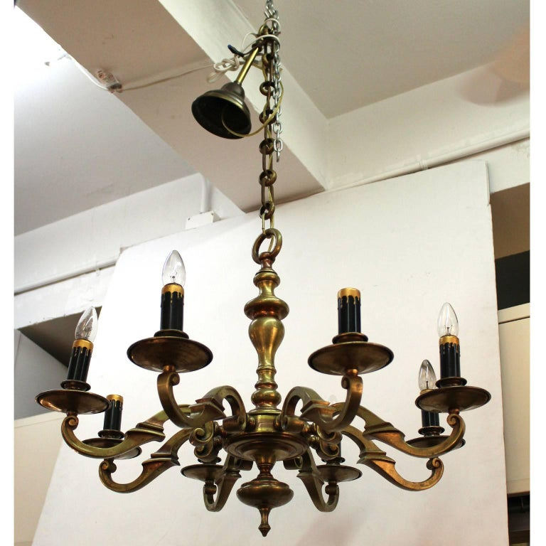 Arts and crafts heavy eight arm brass chandelier for sale for Arts and crafts chandelier