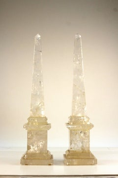 Pair of Brazilian Quartz Obelisks