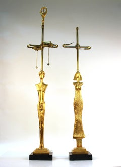 Pair of Giacometti Style Table Lamps