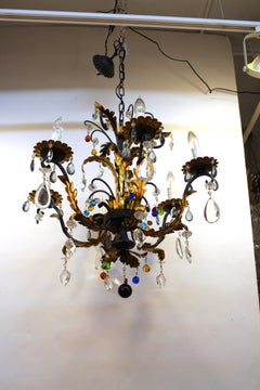 Multi-colored Glass Drop Tole Chandelier