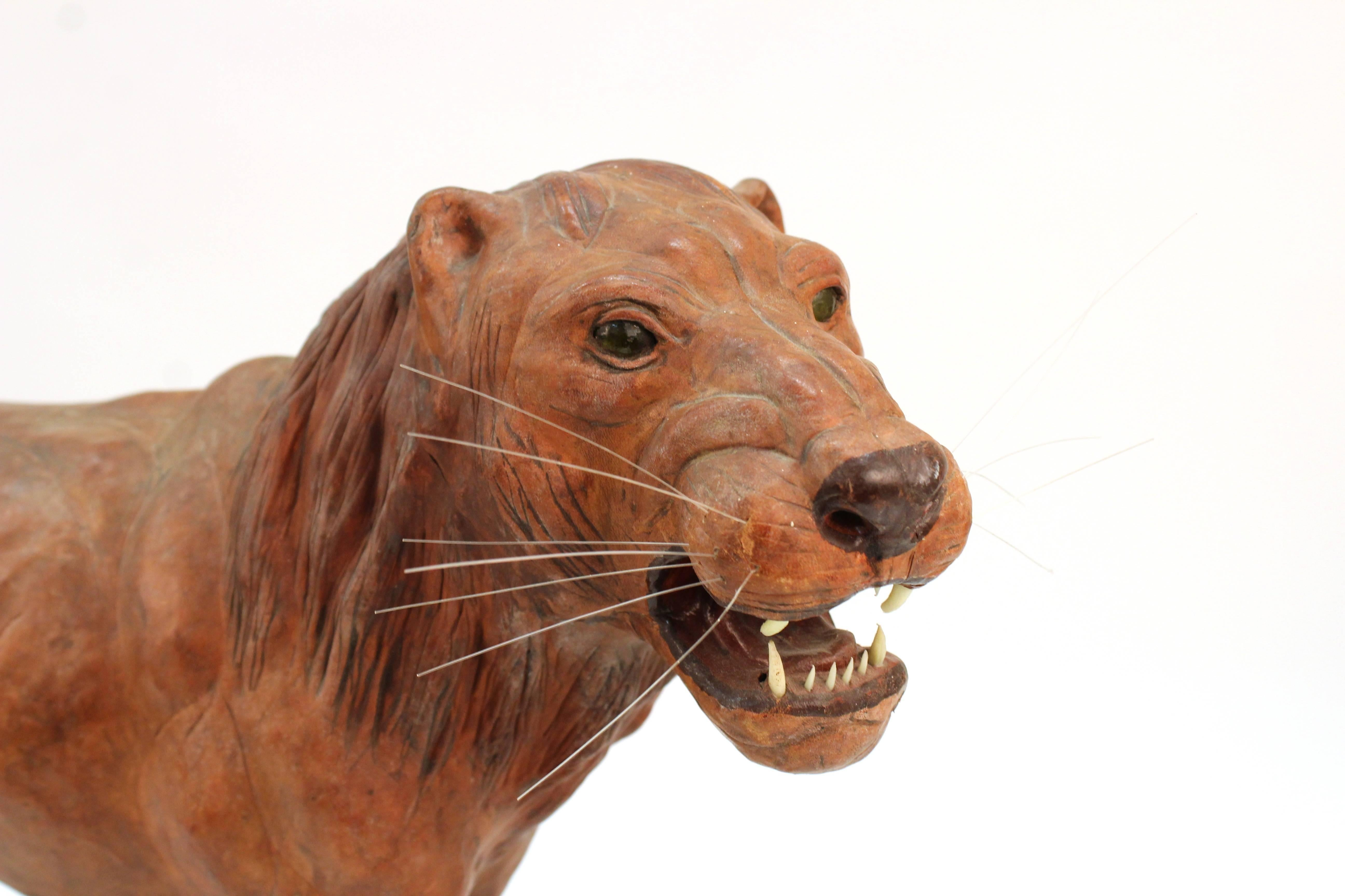 leather lion sculpture for sale at 1stdibs