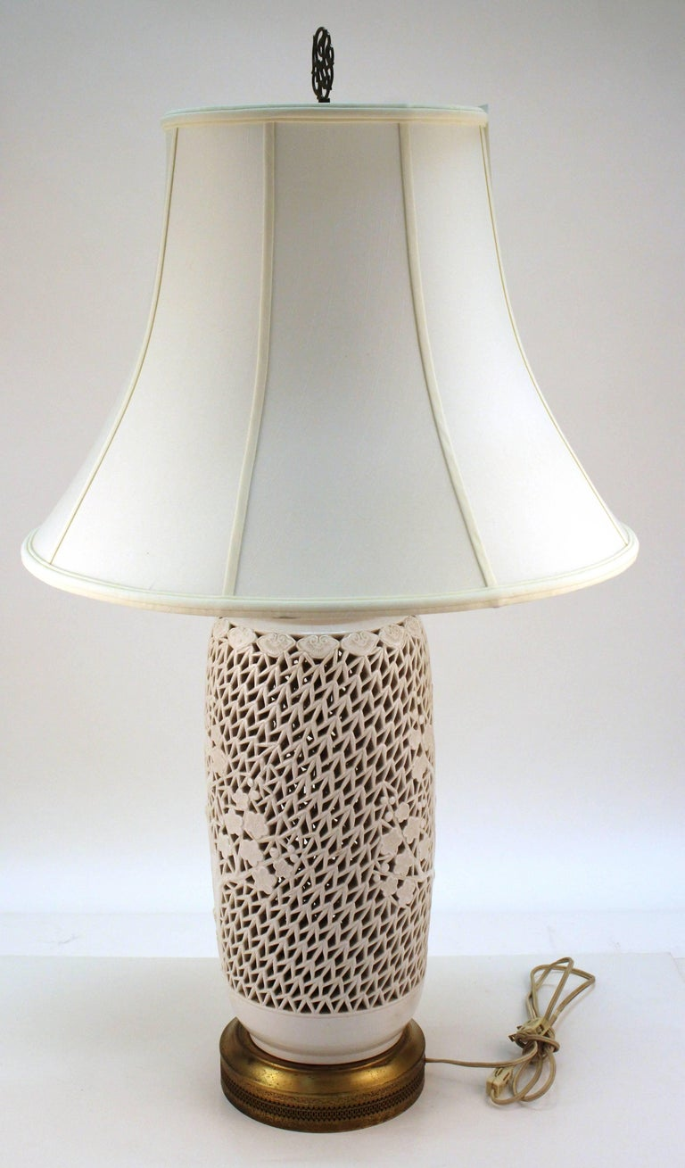 Blanc De Chine Table Lamp In Blossom Pattern At 1stdibs