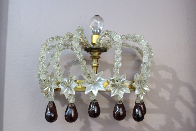 Pair of Decorative Rock Crystal Sconces In Good Condition For Sale In New York, NY