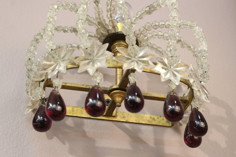 Pair of Decorative Rock Crystal Sconces For Sale 5