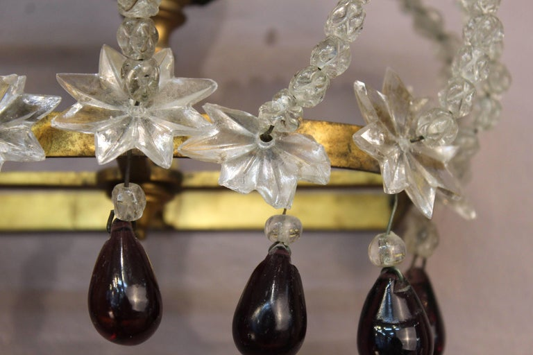 Pair of Decorative Rock Crystal Sconces For Sale 1