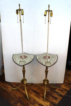 Pair of Painted Shield Floor Lamps