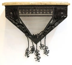 Wall-Mounted Oscar Bach Style Wrought Iron and Marble Console