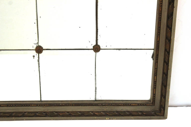 20th Century Art Deco Style Mirror with Divided Mirror Panels, Rosettes, and Swag Motif For Sale