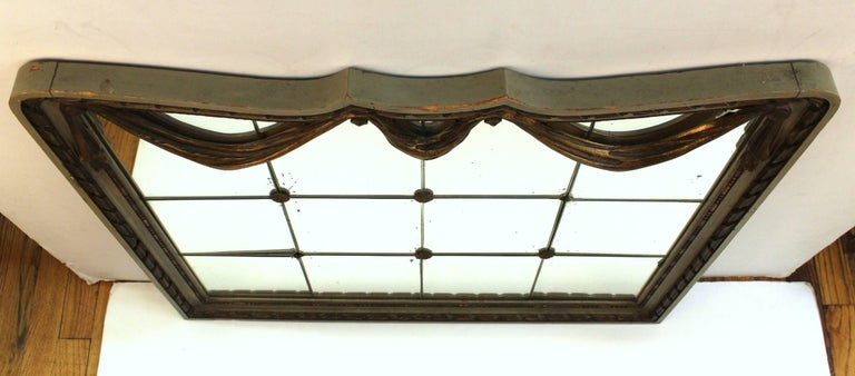 Art Deco Style Mirror with Divided Mirror Panels, Rosettes, and Swag Motif For Sale 2