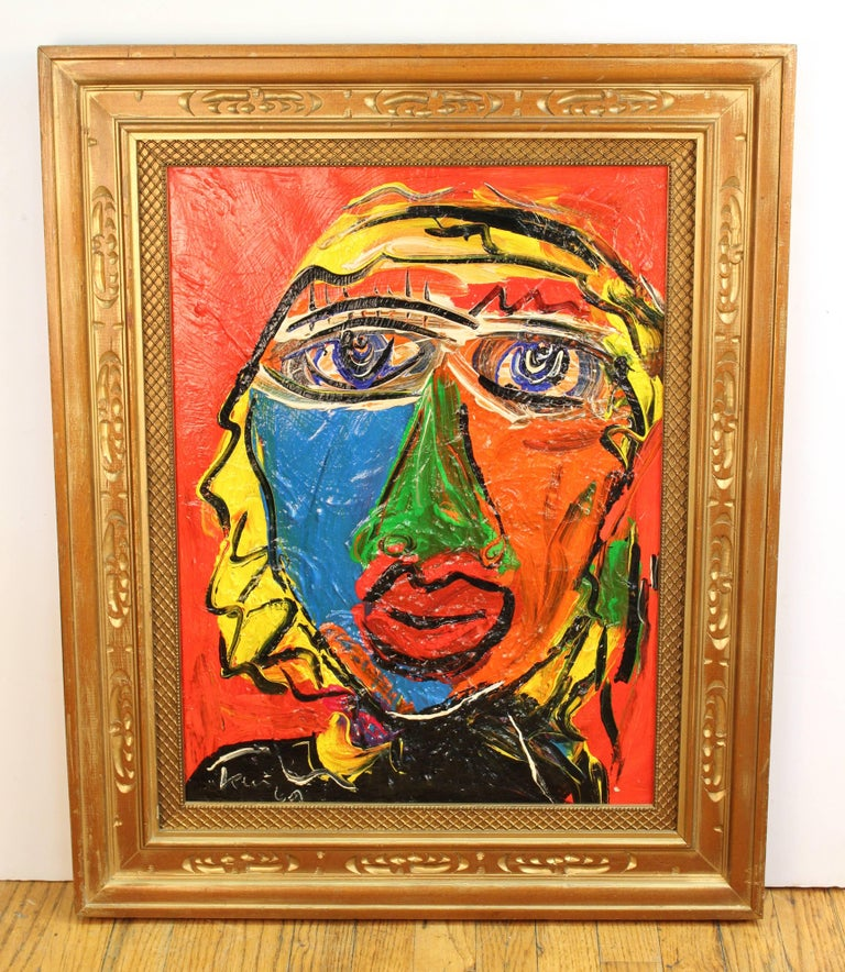 Peter Keil portrait of Jayne Mansfield painted in an expressive manner in colorful thick oil paint on canvas. The recto of the piece is signed and the verso reads