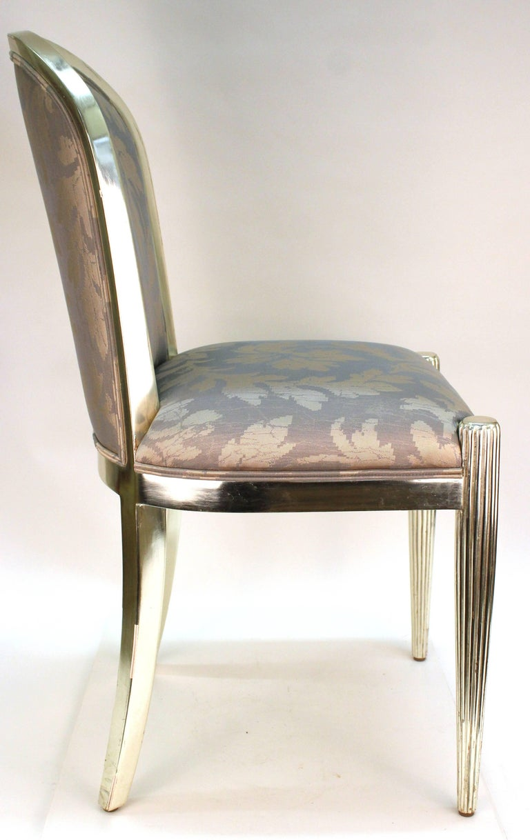 Art Deco Style Dining Chairs In Silver For Sale At 1stdibs