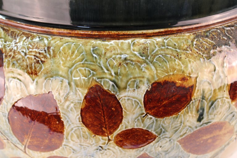 Doulton English Stoneware Jardiniere with Leaf Motif In Good Condition For Sale In New York, NY