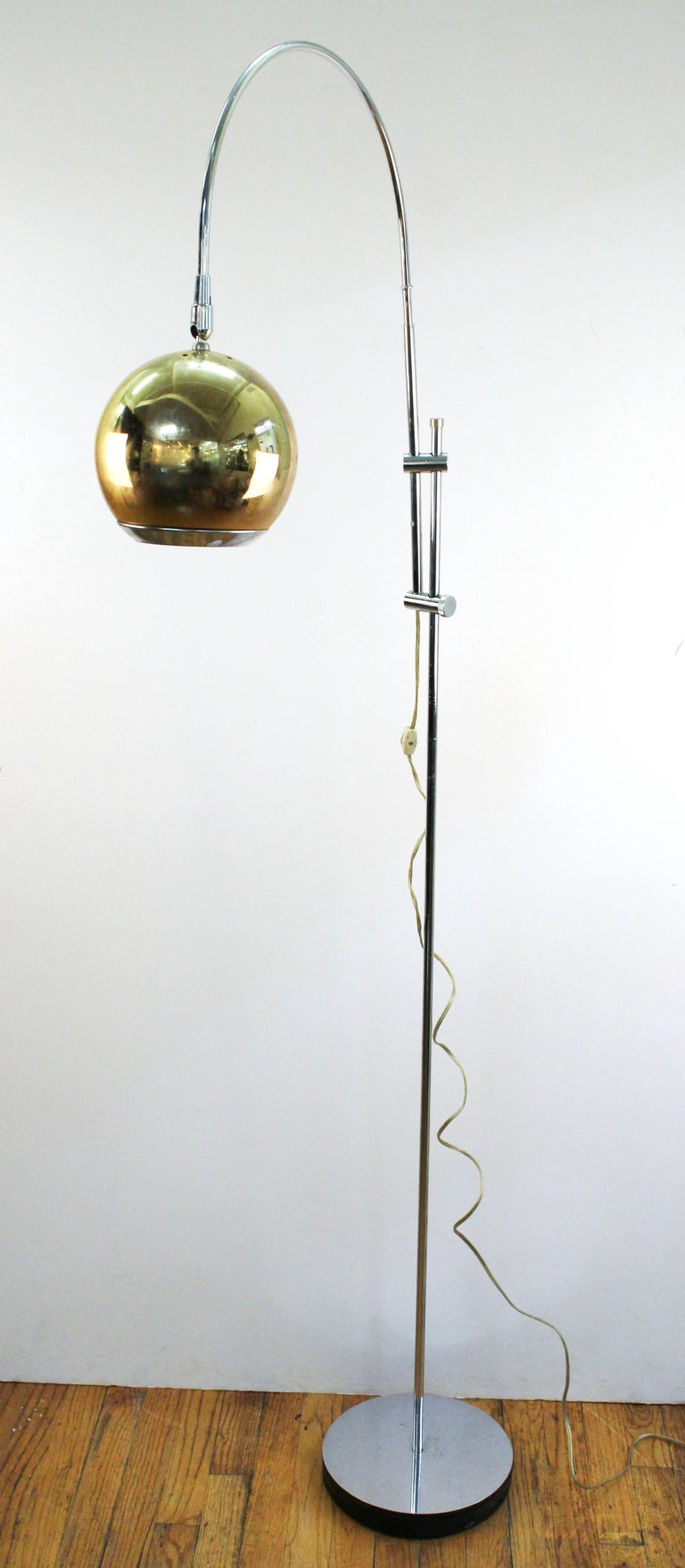 Mid Century Modern Arc Lamp With Articulating Shade And