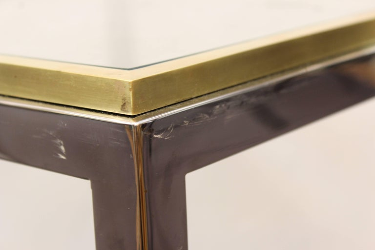 Brass Pair of Chrome Side Tables Attributed to Romeo Rega or Renato Zevi For Sale