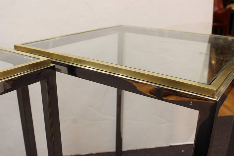 Pair of Chrome Side Tables Attributed to Romeo Rega or Renato Zevi For Sale 1