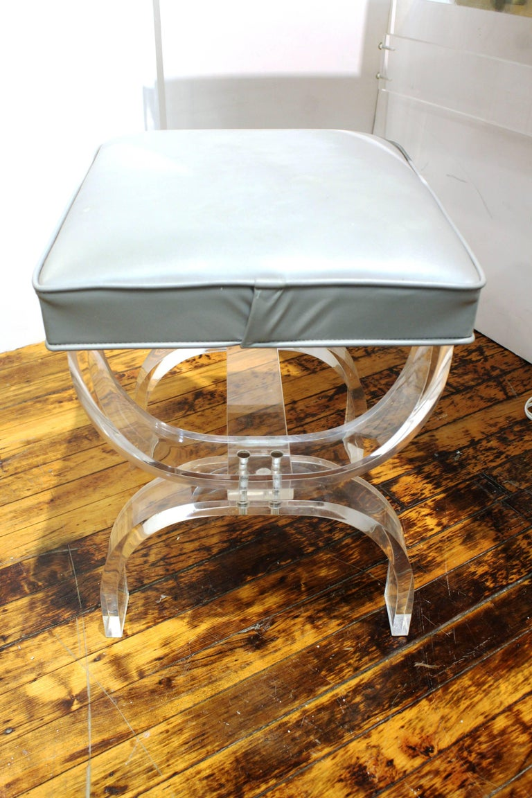 Lucite And Chrome Vanity With Bench By Hill Manufacturing
