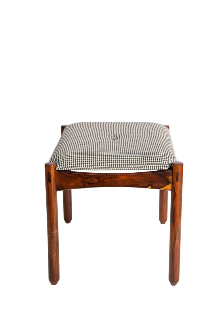 Michel Arnoult Stools in Brazilian Jacaranda with Linen Seats For Sale 1