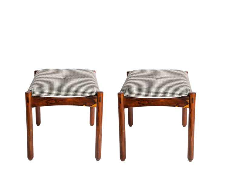 Mid-Century Modern Michel Arnoult Stools in Brazilian Jacaranda with Linen Seats For Sale