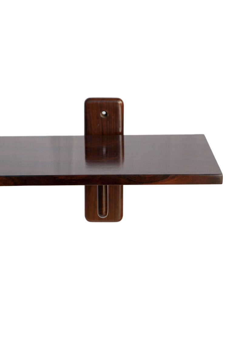 Mid-Century Modern Brazilian Midcentury Jacaranda Wall Console by Sergio Rodrigues and Mirror For Sale