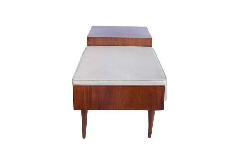 Brazilian Mid-Century Modern Telephone Seat in Jacaranda with Tapered Legs In Good Condition For Sale In New York, NY