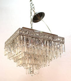 Italian Mid-Century Modern Chrome Chandelier with Murano Crystal Prisms