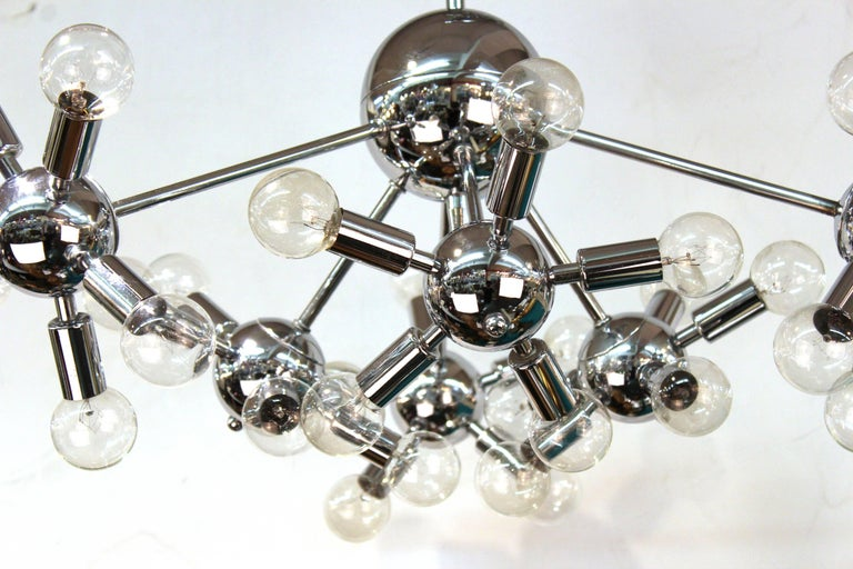 Italian Mid-Century Modern Chrome Sputnik Chandelier In Good Condition For Sale In New York, NY