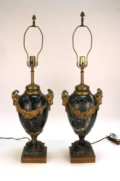 Neoclassical Marble and Bronze Urn Table Lamps, Pair