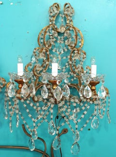 Italian Marie-Antoinette Crystal and Beaded Sconces