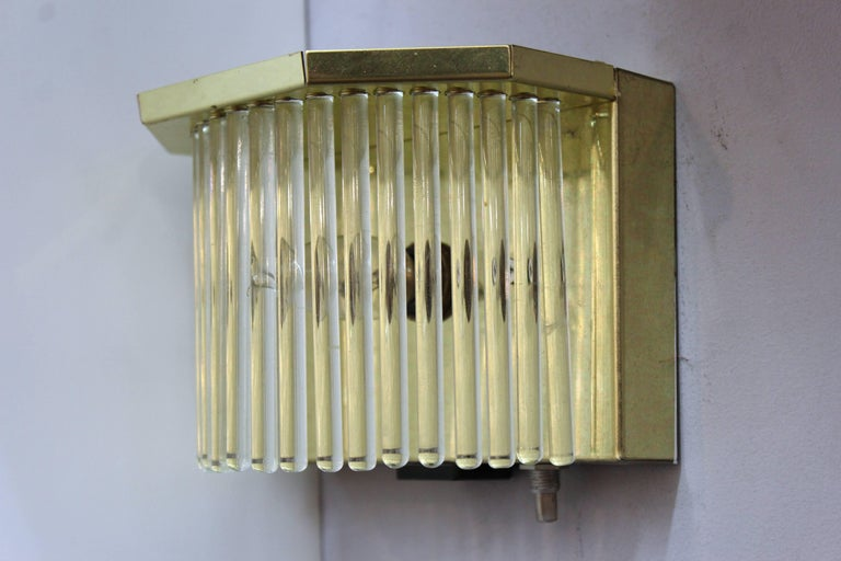 Mid-Century Modern Sciolari Italian Brass and Glass Rod Sconces For Sale