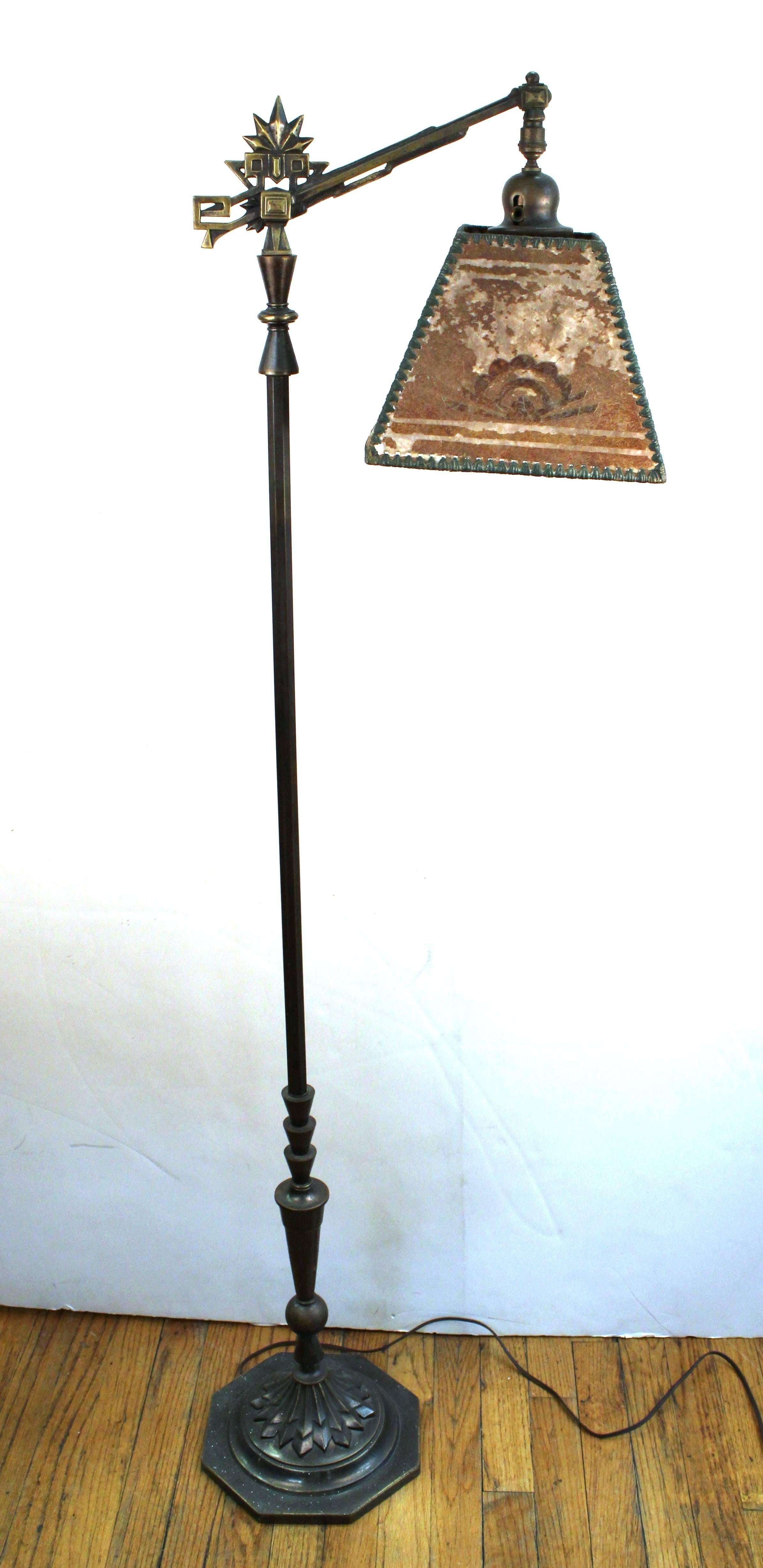 Art Deco Floor Lamp With Mica Shade At 1stdibs