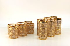 Sets of Imperial Glass Co. Glasses with Gold Enamel