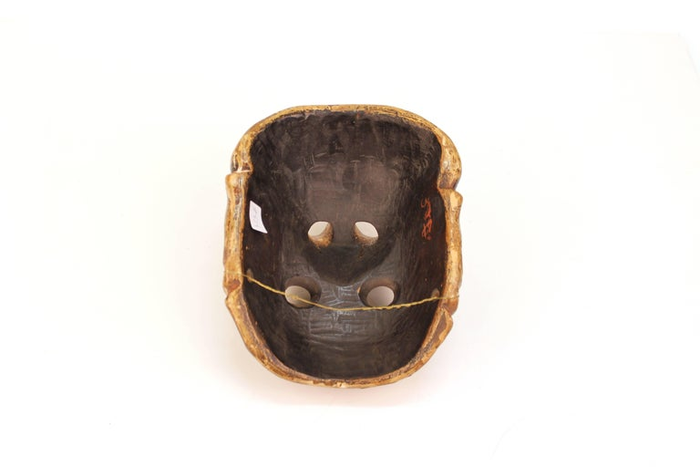 Wood Japanese Edo Period Kyogen Mask of a Nio Guardian For Sale