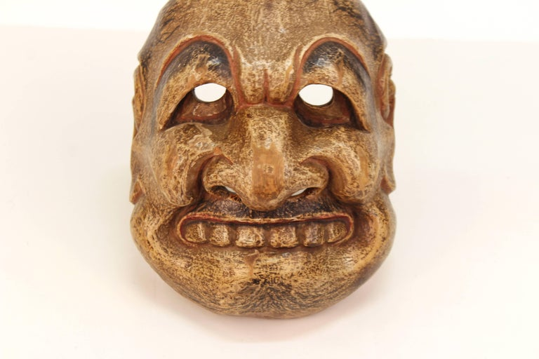 Japanese Edo Period Kyogen Mask of a Nio Guardian For Sale 2