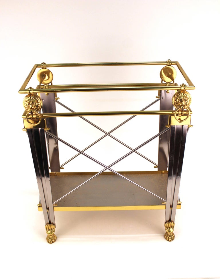 Hollywood Regency Mid-Century Magazine Holder in Brass and Metal For Sale