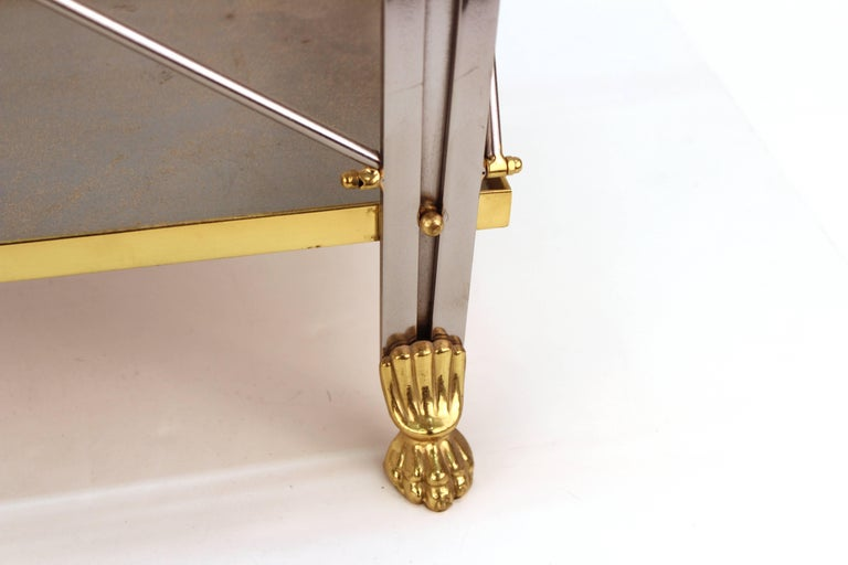 Mid-Century Magazine Holder in Brass and Metal For Sale 1