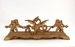 Victorian Gilt Iron Fireplace Tool Cradle with Gnome and Dragon Detailing