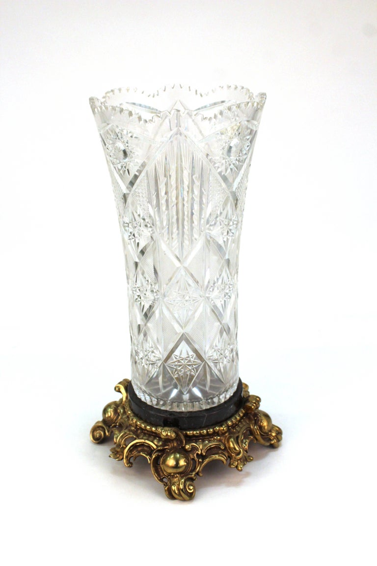 Victorian Cut Crystal Vase On Marble And Gilt Metal Base