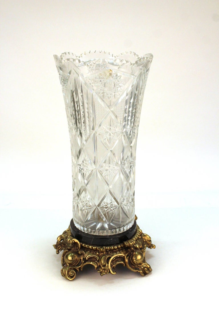 Victorian cut crystal vase on marble and gilt metal base at 1stdibs american victorian cut crystal vase on marble and gilt metal base for sale reviewsmspy